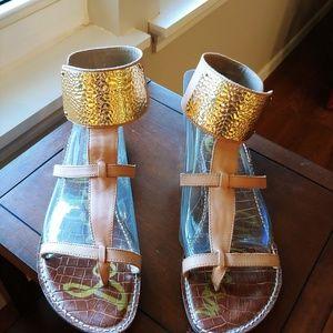Sam Edelman Genette gold ankle cuff sandals